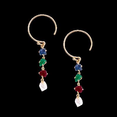 第一件珠宝 蜕变 Collection 18K黄金 彩宝一字耳环 (原石版) 6399