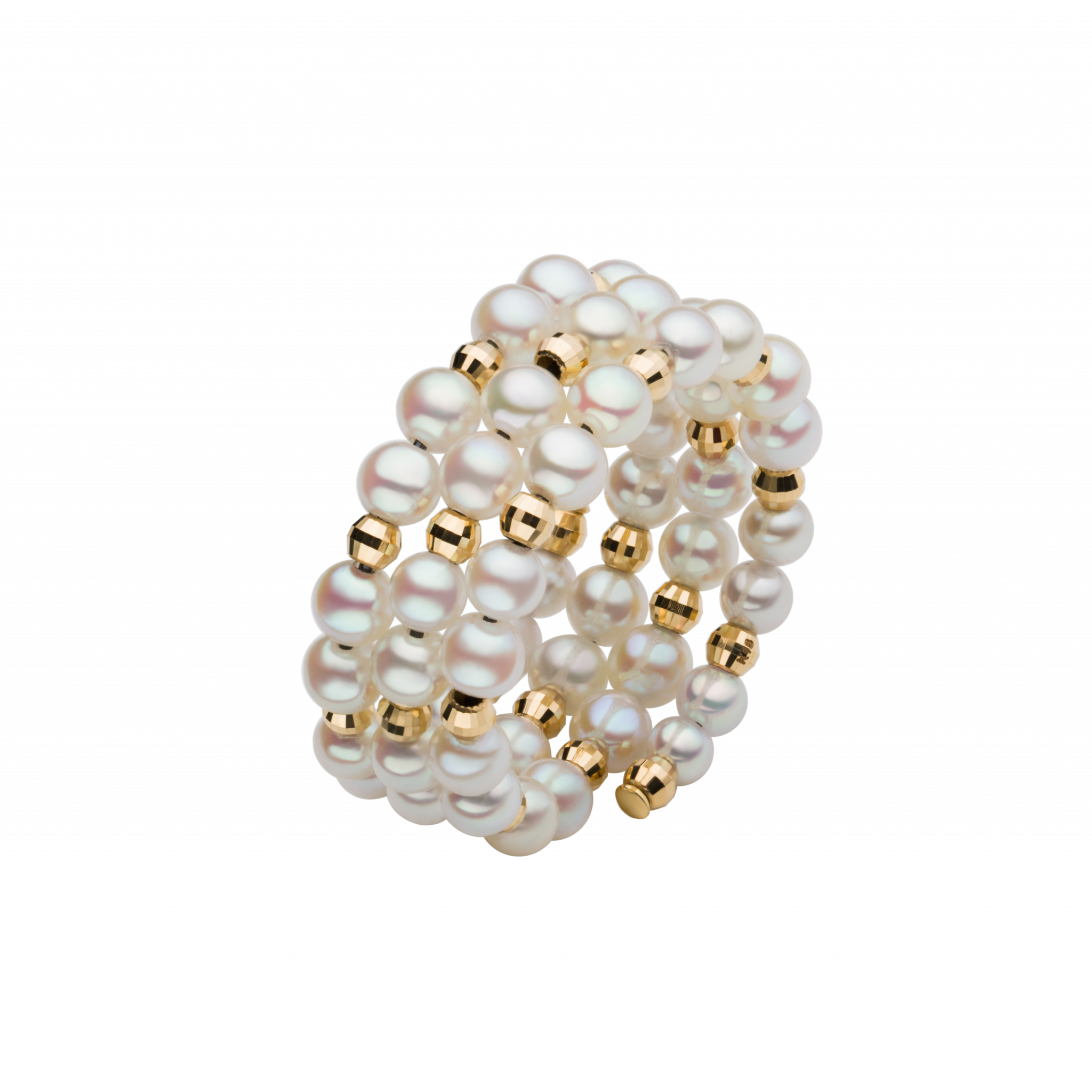 Spuma Collection 18K黄金Akoya珍珠 可调节戒指 6699